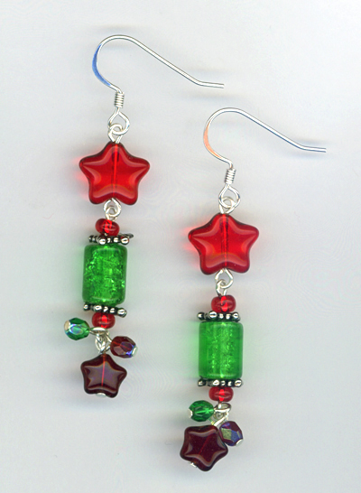 red, green, christmas earring