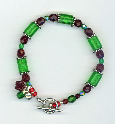 red, green, christmas bracelet