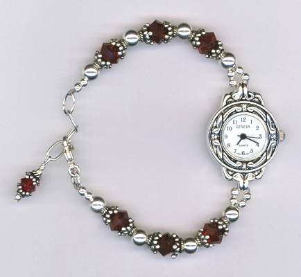 siam red crystal elegant watch