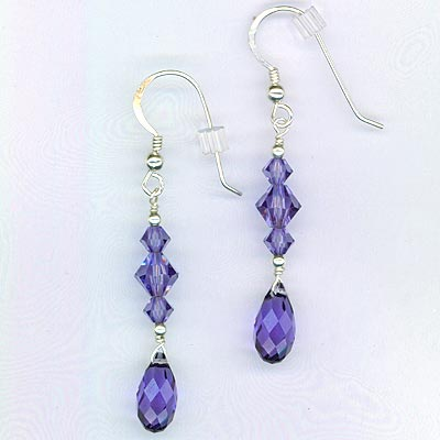 Purple Tazanite Swarovski Crystal Earrings2