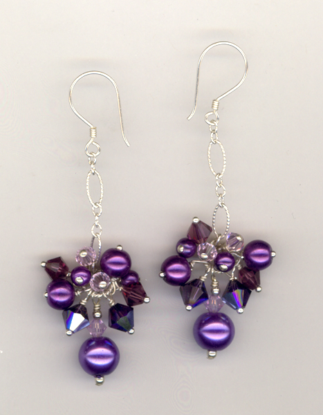 purple pearl crystal dangle earrings