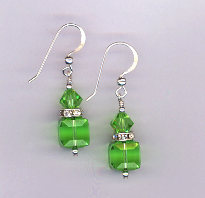 periodot cube crystal stack earrings