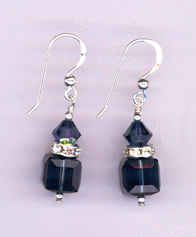 montana cube cyrstal stack earrings