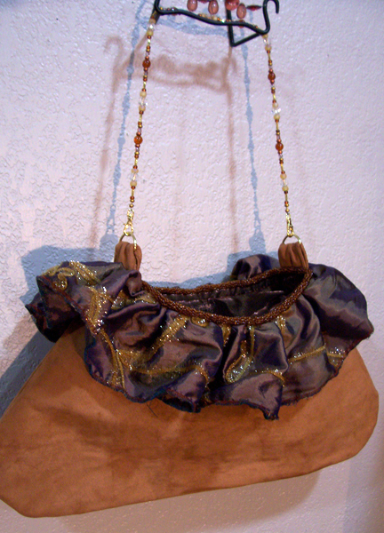 copper taffeta evening handbag
