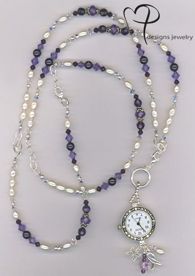 purple pearl crystal awareness watch necklace