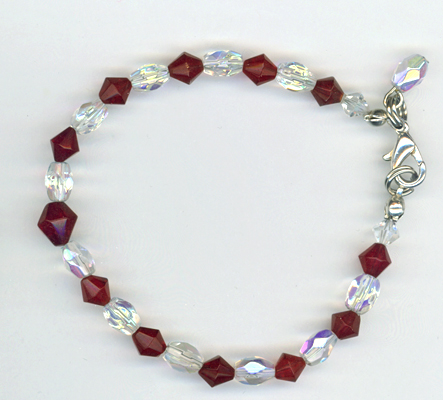red crystal little girl bracelet