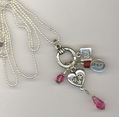 pink rose heart charm necklace