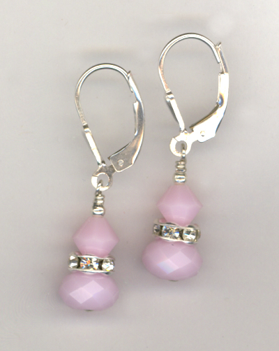 pink rose alabaster stack LB earrings