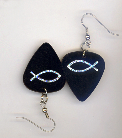 black fish guitar pick earrings