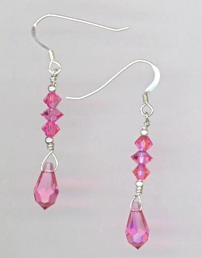 rose pink crystal pendant stack earrings