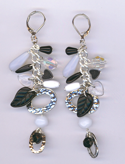 black white charm earrings