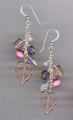 pink SS chain earrings