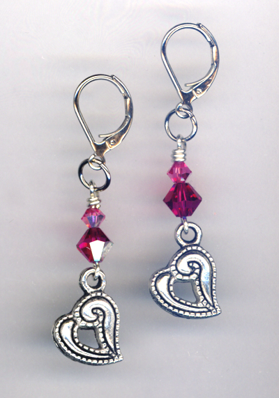 pink fuchsia rose heart charm lb earrings