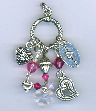 pink multi crystal charm necklace