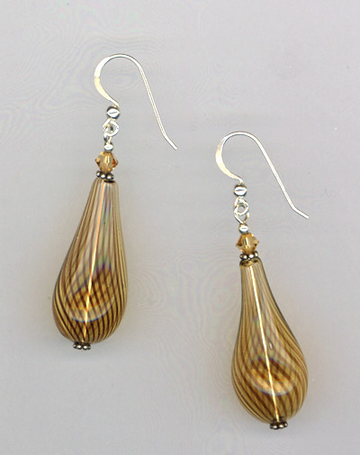 brown handblown teardrop glass earrings