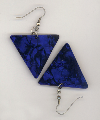 blue pearl triangle gp earring