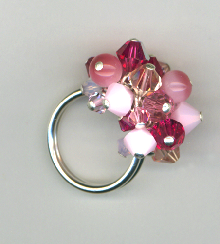 pink crystal cluster ring