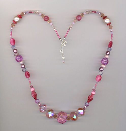 pink crystal mix wow necklace