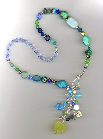 turquoise blue gemstone mix necklace