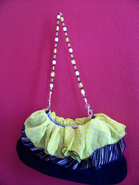 yellow black ruffled slouch purse