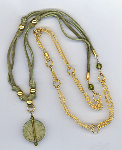 olive green leather gold necklace