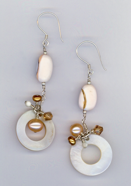 MOP circle shell dangle earrings