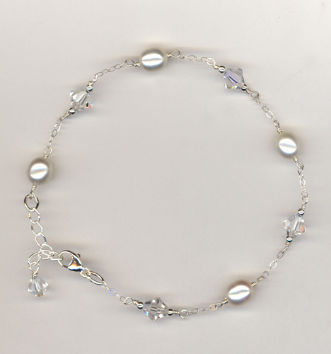 white pearl crystal chain bracelet