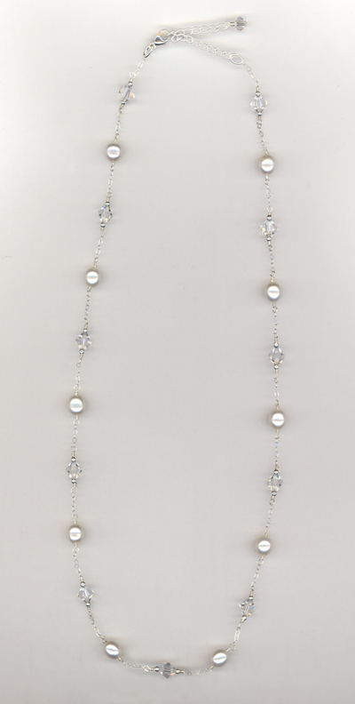 white pearl crystal chain necklace