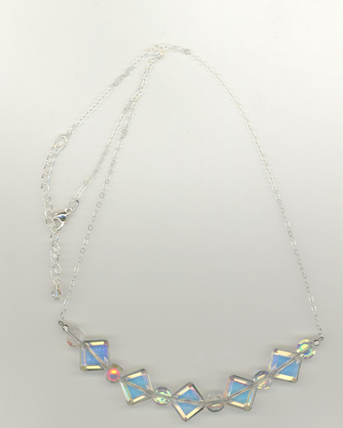 diamond czech glass ss chain necklace