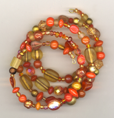 orange gold memory wire bracelet