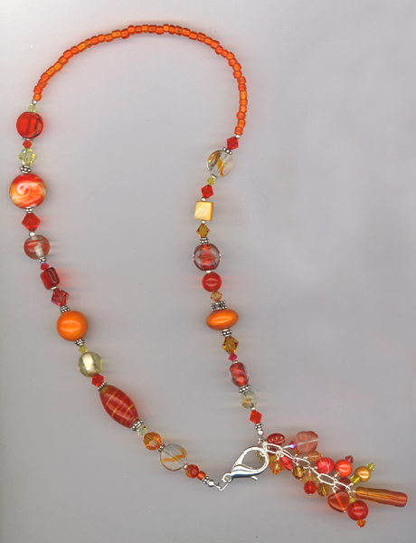 orange mix charm necklace