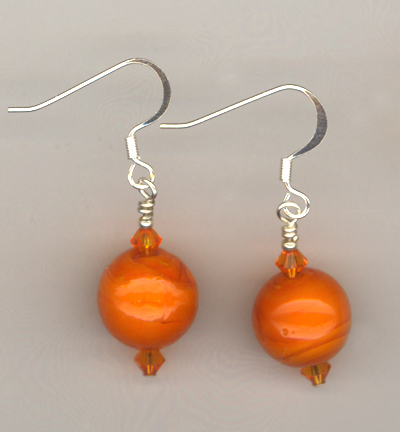 orange lw round sun crystal earring