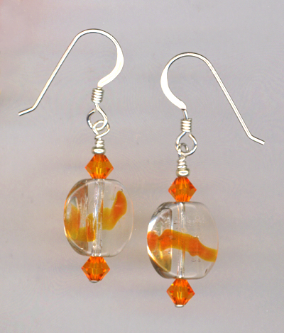 orange lampwork crystal earring