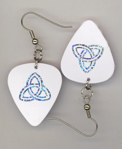 white trinity gp earrings