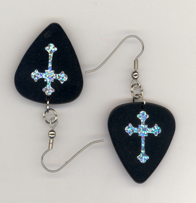 black gothis cross gp earrings