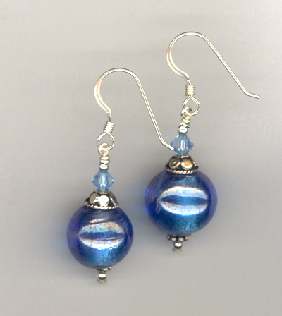 blue lw crystal earrings