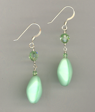 green chrysolite dangle earrings