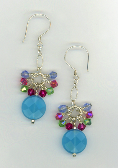 aqua blue summer mix crystal earrings