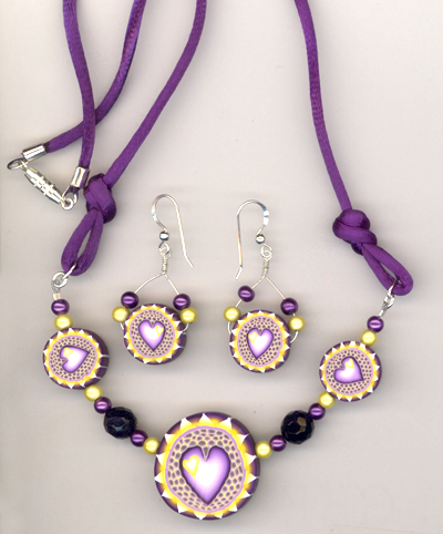 purple yellow heart silk set