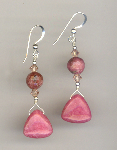 pink Rhodonite gesmtone crystal earrings