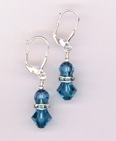 Blue Indicolite Swarovksi Crystal Stack LB Earrings