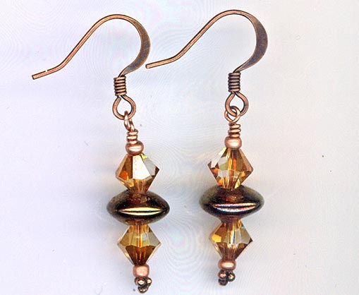 Copper Swarovski Crystal stacked earring