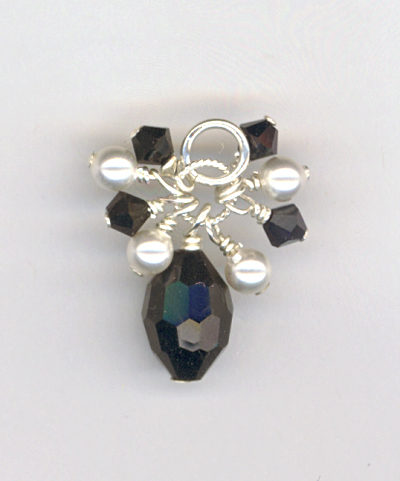 Hope Black White Crystal Pearl Pendant