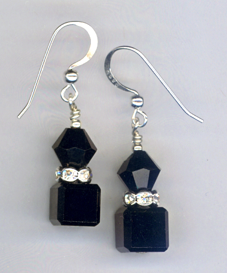 Black Crystal Cube Stack Earring
