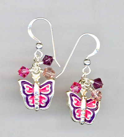 Butterfly Pink Purple Crystal Charm Earrings