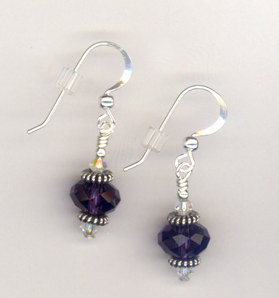 purple Velvet Crystal Bali Stack SS Earrings