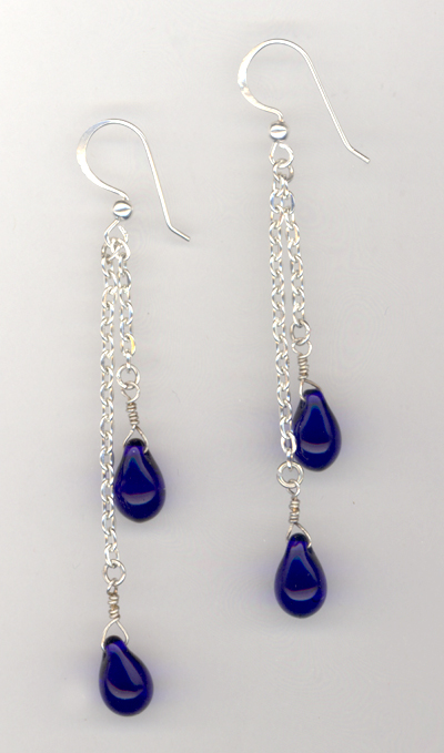 Blue Laggon Teardrop Chain Earrings