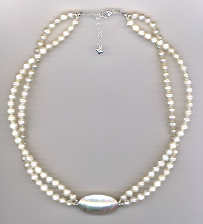 White Bridal 2-strand MOP Necklace