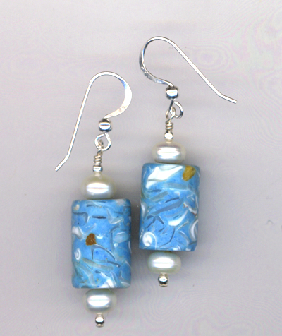 Sea Of Blue Pearl Earrings