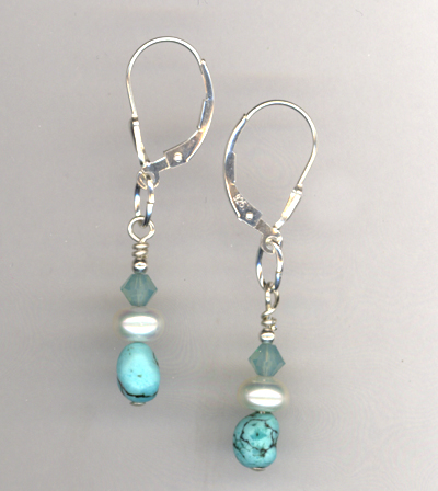 Turquoise & Pearl Artisan Earrings